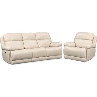 Monte Carlo Dual Power Reclining Sofa and Recliner Set - Cream
