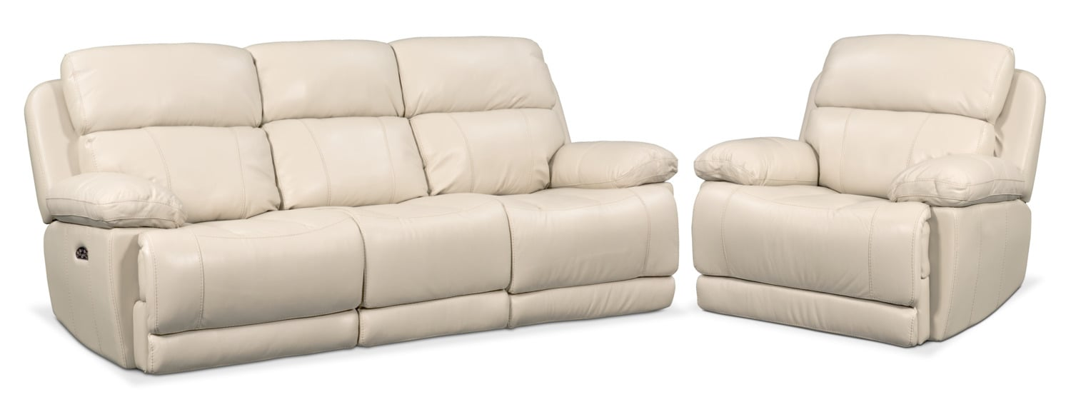 Living Room Furniture   Monte Carlo Dual Power Reclining Sofa And Recliner  Set   Cream