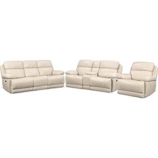 Monte Carlo Dual Power Reclining Sofa, Reclining Loveseat and Recliner Set - Cream