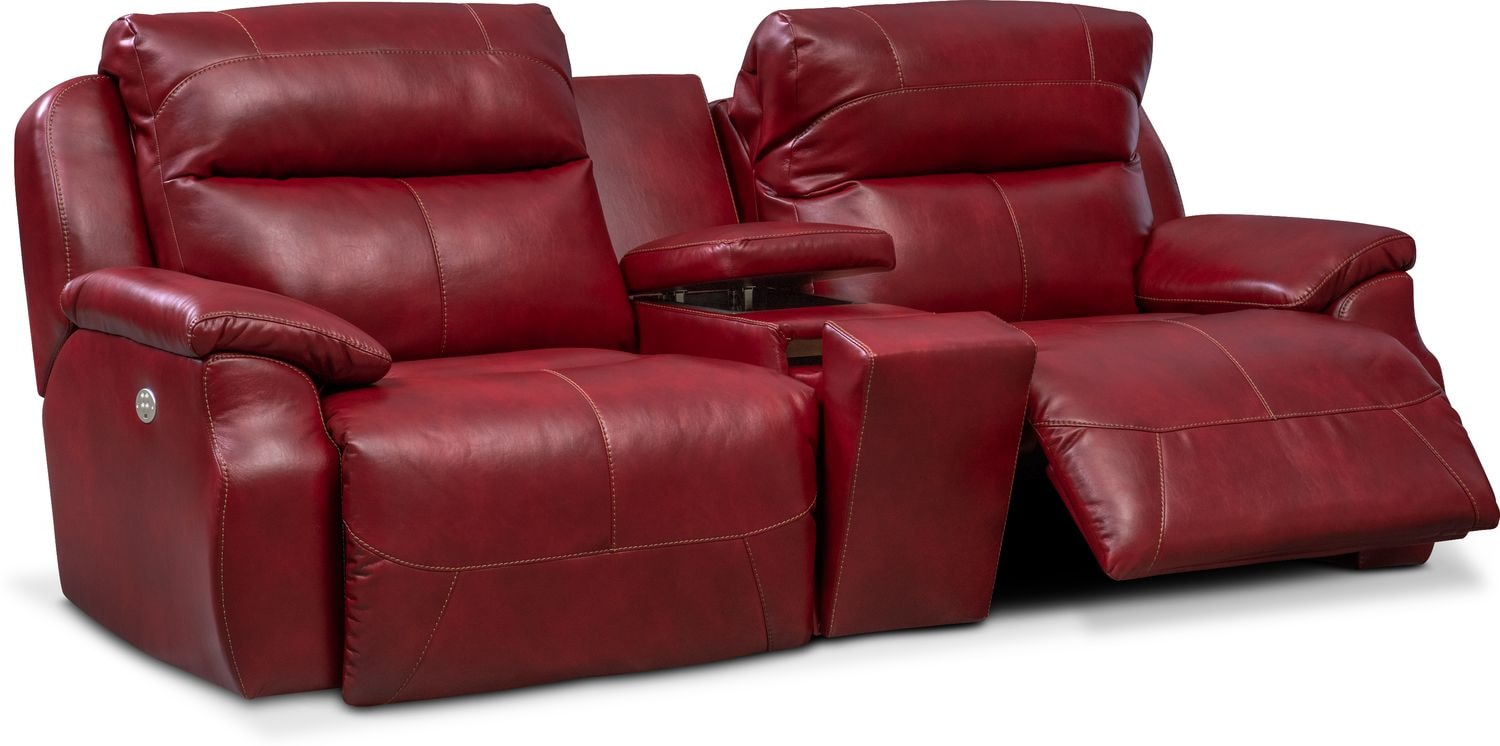 Click to change image.  sc 1 st  Value City Furniture & Spectrum Dual Power Reclining Sofa with Console - Red | Value City ... islam-shia.org