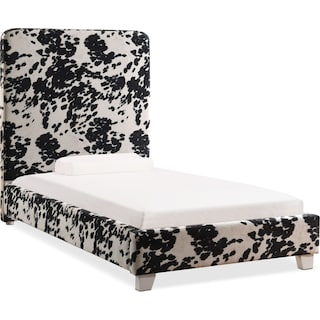 Jungle Twin Upholstered Bed - Black