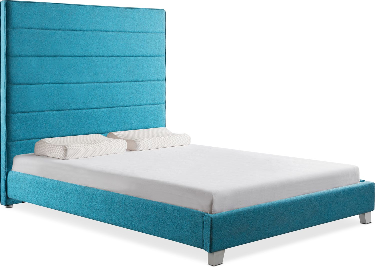 Brighton Queen Upholstered Bed - Teal   Value City Furniture and ...