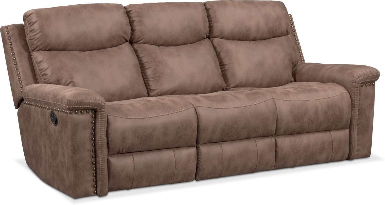 Living Room Furniture   Montana Dual Manual Reclining Sofa   Taupe