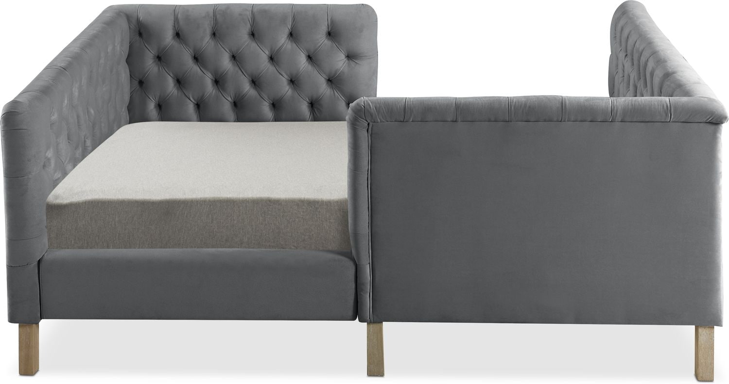 Halle Full Upholstered Corner Bed Gray Value City