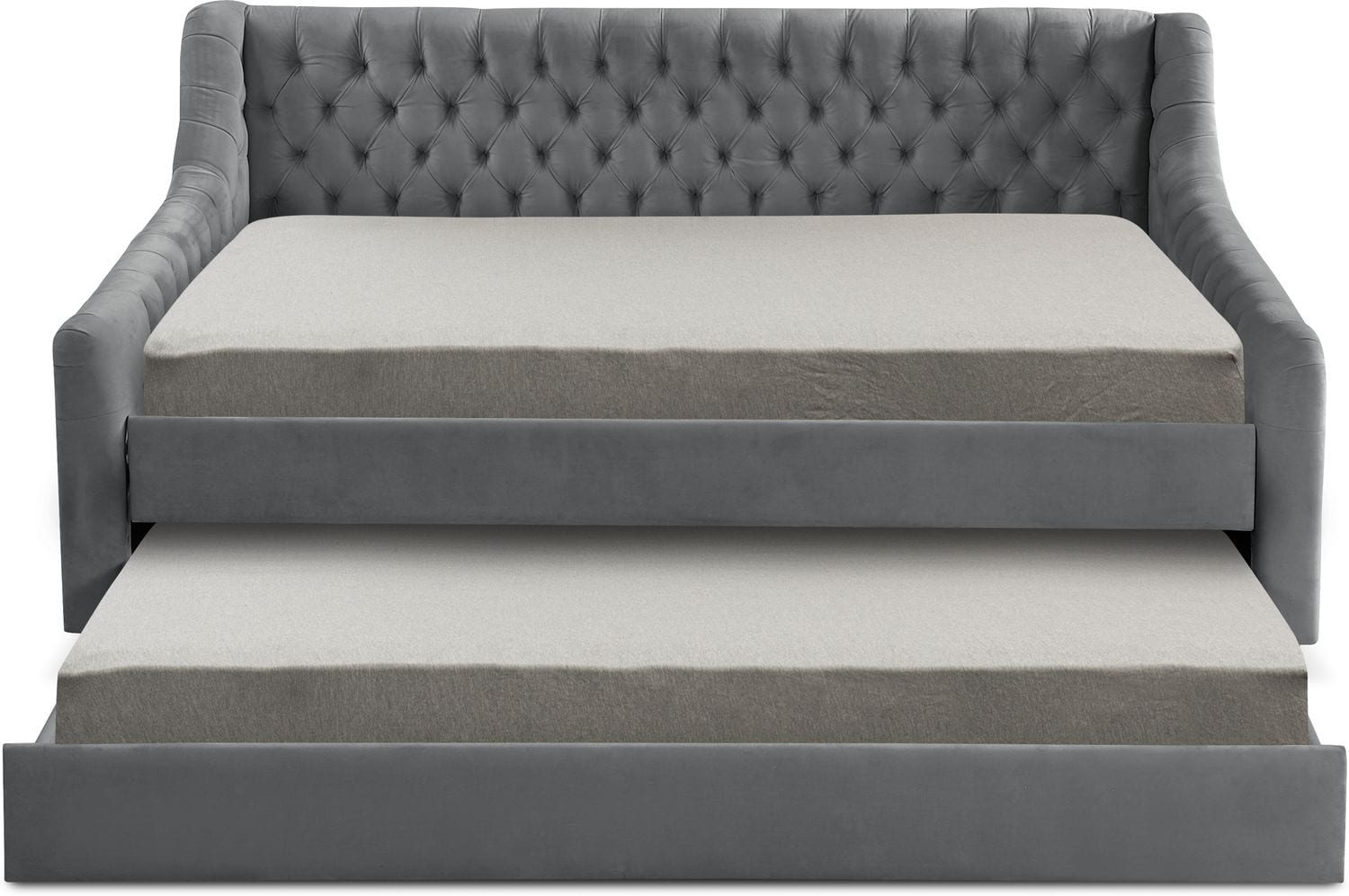 Halle Full Upholstered Daybed With Twin Trundle Gray