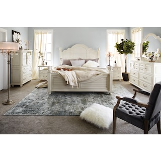 Charleston 6-Piece Queen Poster Bedroom Set - White