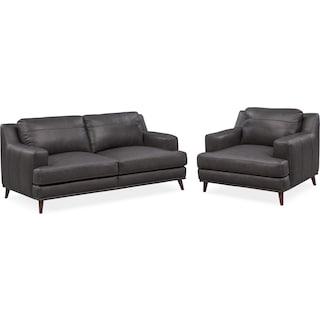 Highline Sofa and Chair Set - Dark Gray
