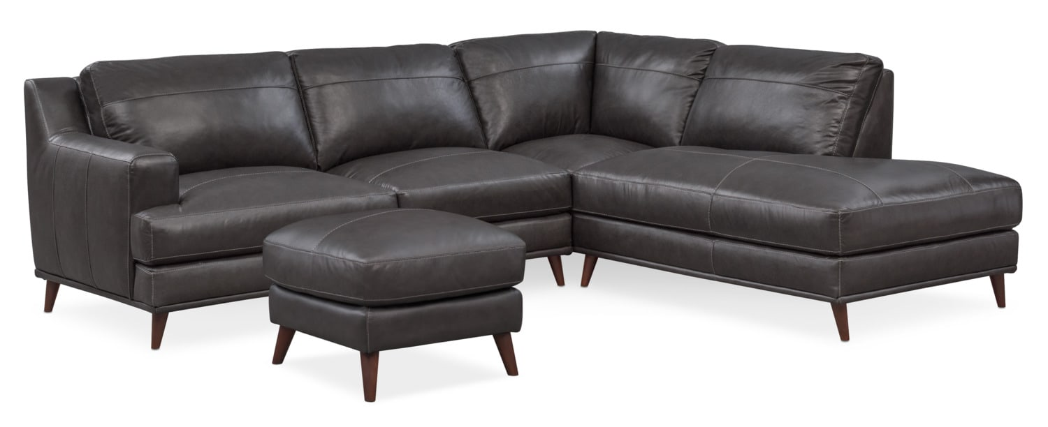 Highline 2-Piece Sectional with Right-Facing Chaise and Ottoman Set - Dark Gray  sc 1 st  Value City Furniture : value city furniture leather sectional - Sectionals, Sofas & Couches