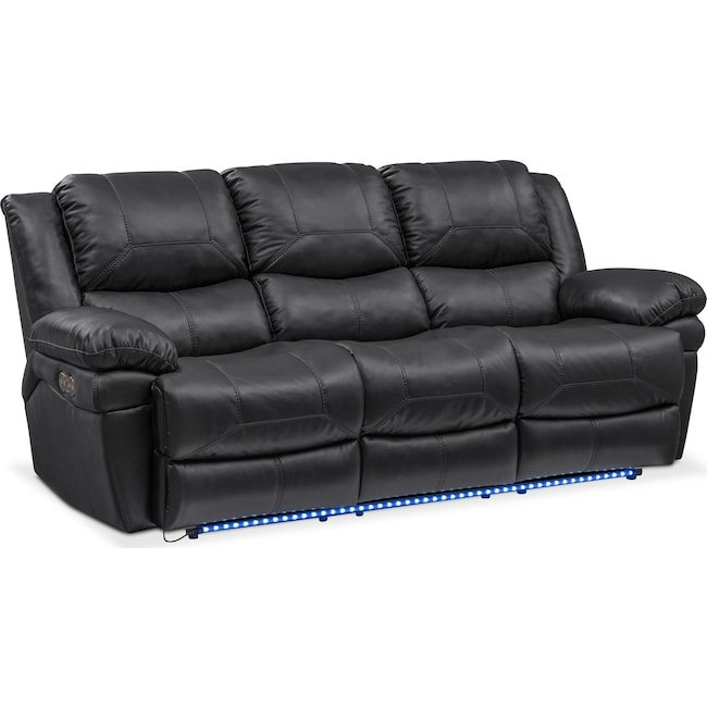 Monza Dual Power Reclining Sofa - Black | Value City Furniture and ...