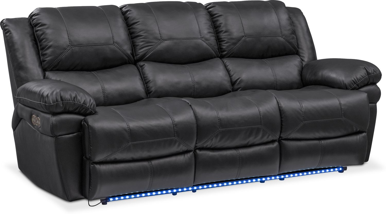 Living Room Furniture   Monza Dual Power Reclining Sofa   Black