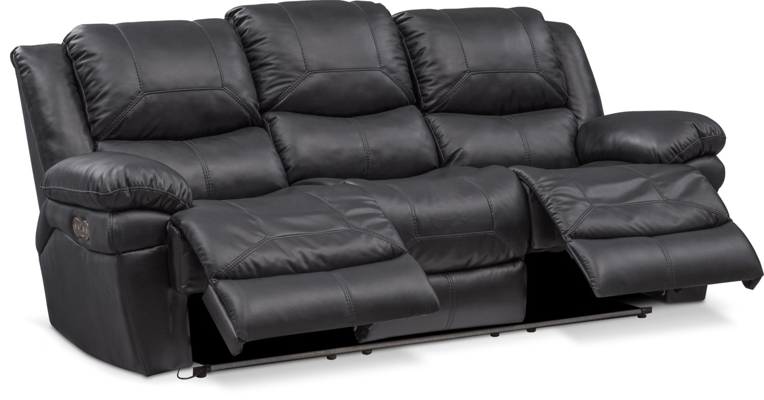 Monza Dual Power Reclining Sofa Black Value City Furniture And