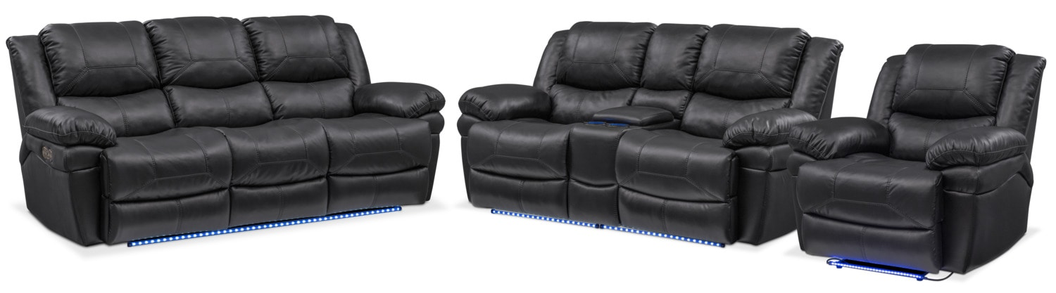 Living Room Furniture   Monza Dual Power Reclining Sofa, Reclining Loveseat  And Recliner Set   Part 89