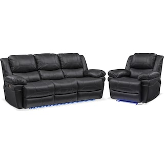 Monza Dual-Power Reclining Sofa and Recliner Set - Black
