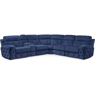 Macklin 4-Piece Dual Power Reclining Sectional with Left-Facing Loveseat - Blue