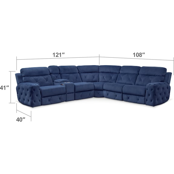 Living Room Furniture - Macklin 4-Piece Dual Power Reclining Sectional with Left-Facing Loveseat