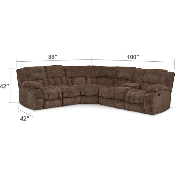 Living Room Furniture - Turbo 6-Piece Manual Reclining Sectional with 3 Reclining Seats - Chocolate