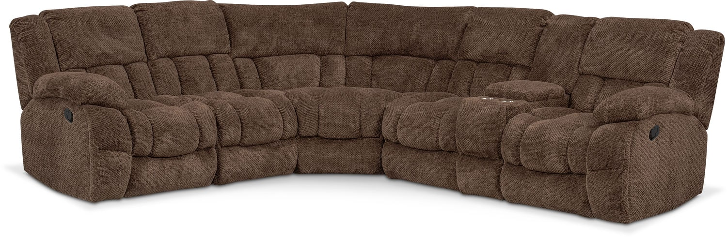 Turbo 6-Piece Reclining Sectional with Right-Facing Console - Chocolate  sc 1 st  Value City Furniture : value city sectional - Sectionals, Sofas & Couches