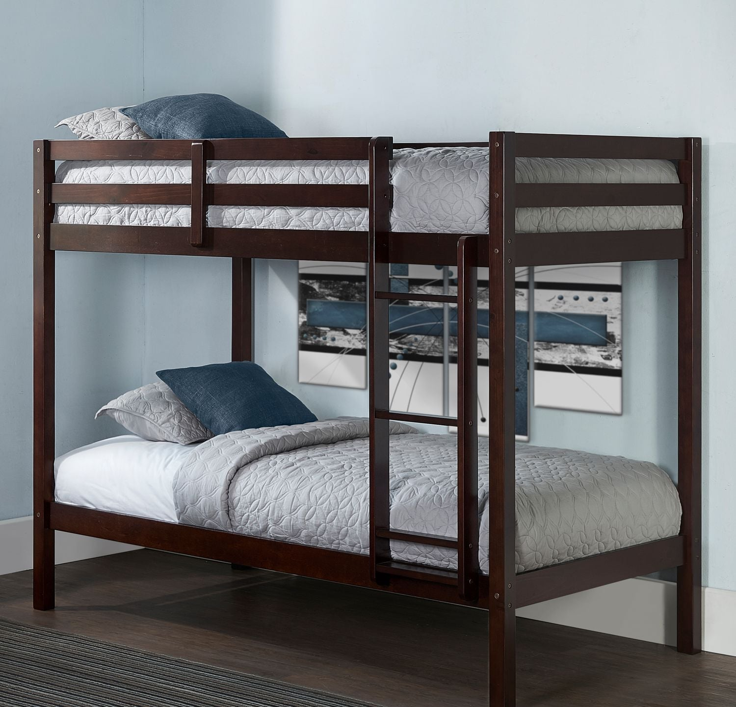Hudson Twin Bunk Bed Chocolate Value City Furniture and Mattresses