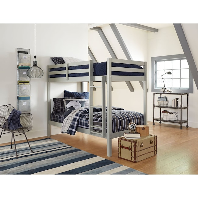 Hudson Twin Bunk Bed - Gray | Value City Furniture and Mattresses