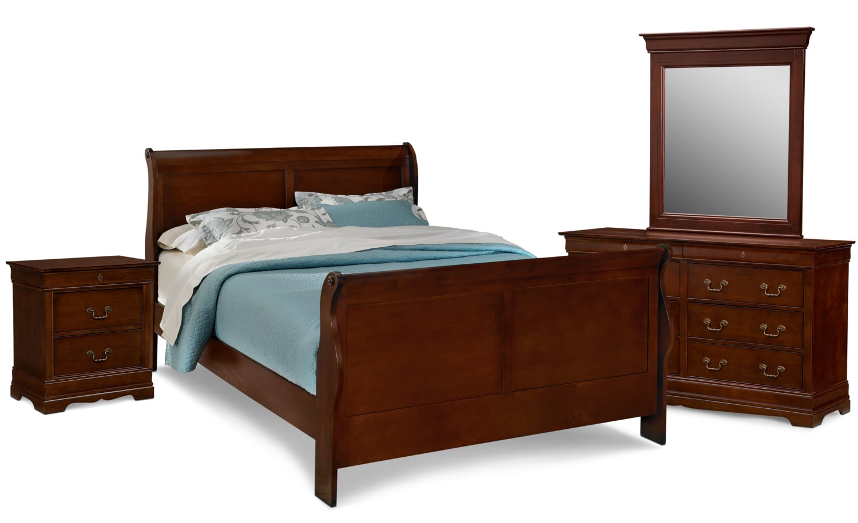 Bedroom Furniture - Neo Classic 6-Piece Bedroom Set with Nightstand, Dresser and Mirror