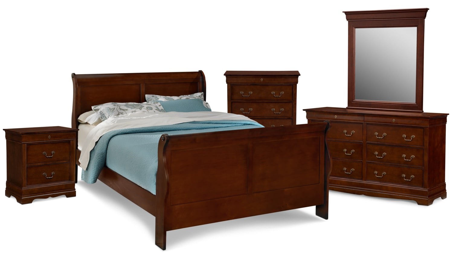 Neo Classic 7 Piece Queen Bedroom Set Cherry Value