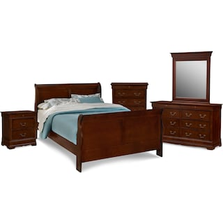 Neo Classic 7 Piece Queen Bedroom Set   Cherry. Shop Bedroom Packages   Value City Furniture and Mattresses