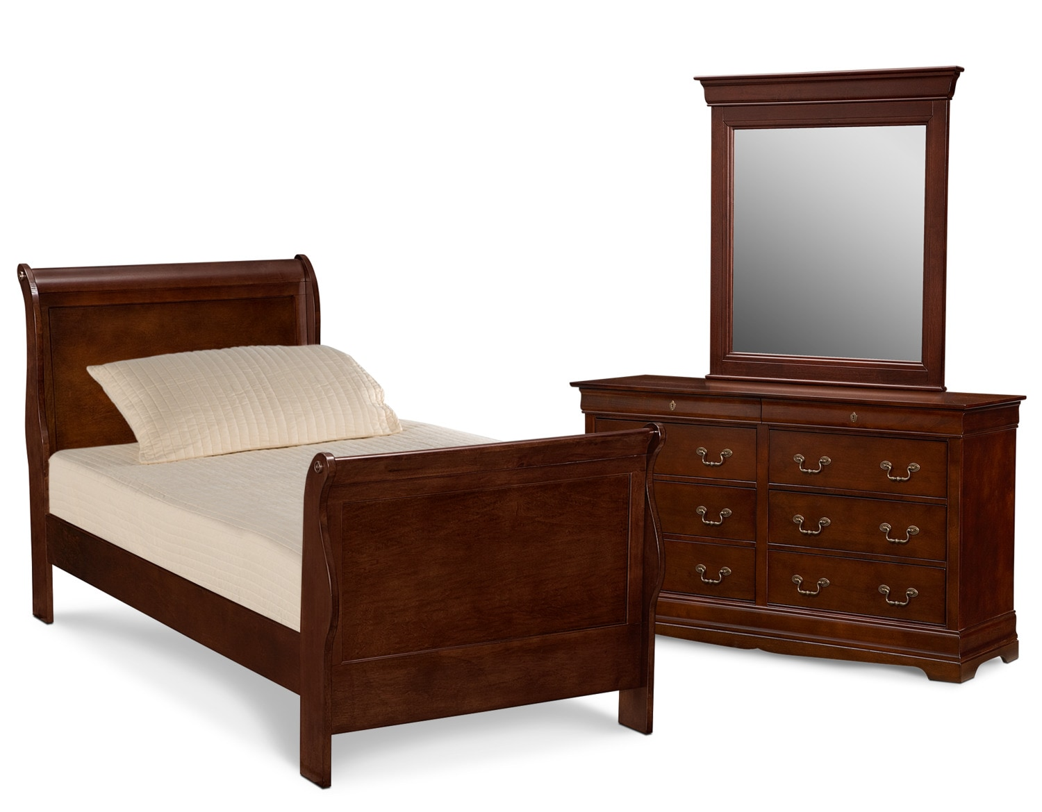 Neo classic youth 5 piece twin bedroom set cherry value city furniture and mattresses for Value city furniture bedroom set