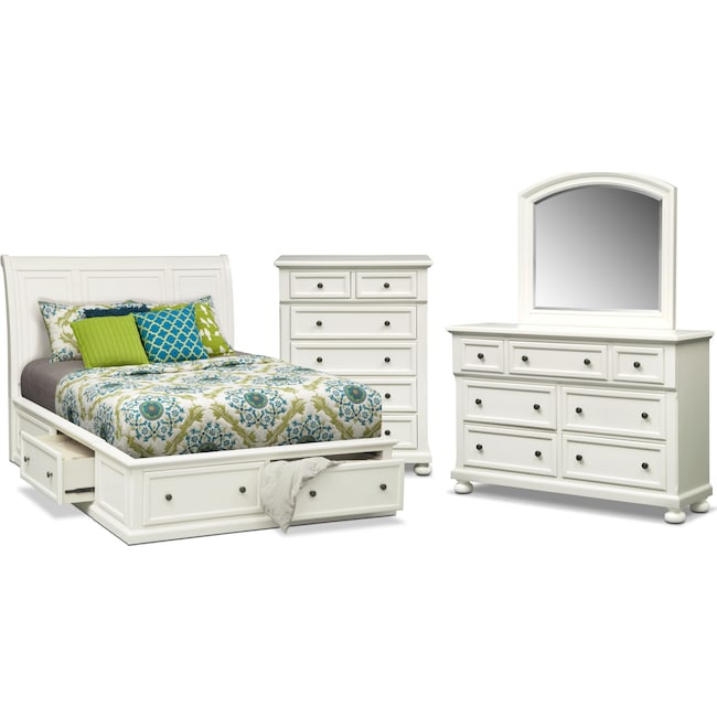 Bedroom Furniture - Hanover 6-Piece King Storage Bedroom Set with Chest - White