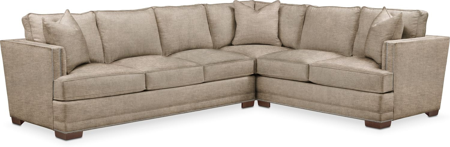 Living Room Furniture   Arden 2 Piece Sectional With Left Facing Sofa    Comfort