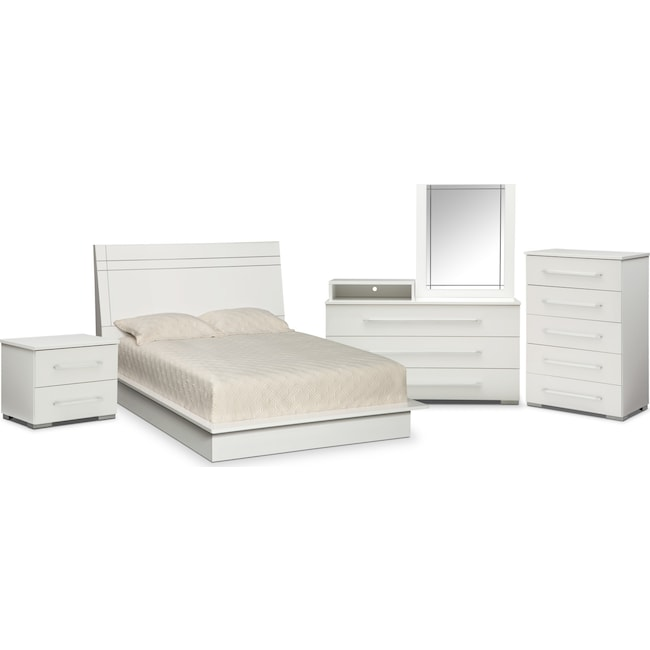 Bedroom Furniture - Dimora 7-Piece Queen Panel Bedroom Set with Media Dresser - White