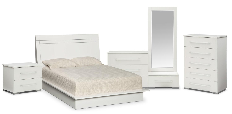 Dimora 7 piece queen panel bedroom set white value 7 piece queen bedroom furniture sets