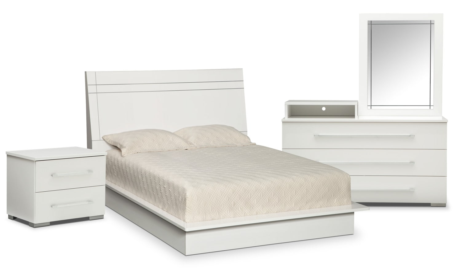 Dimora 6 Piece Queen Panel Bedroom Set With Media Dresser   White By  Factory Outlet