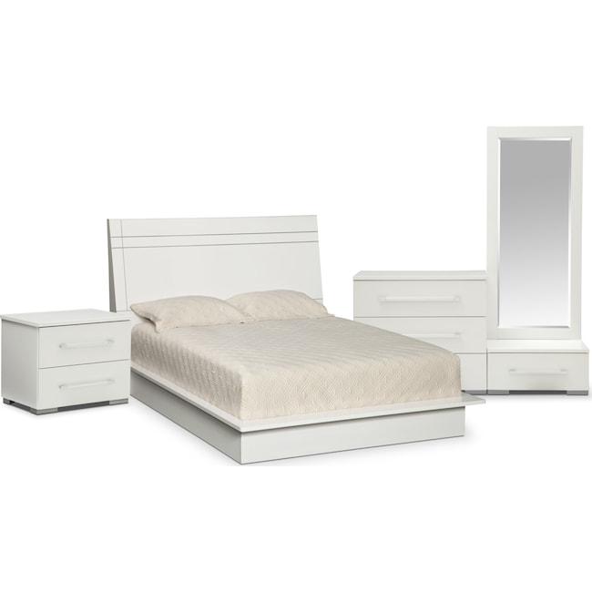 Bedroom Furniture - Dimora 6-Piece  Queen Panel Bedroom Set - White
