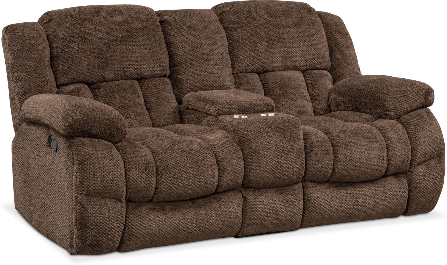 front with view reclining power loveseat brown console nederland grover