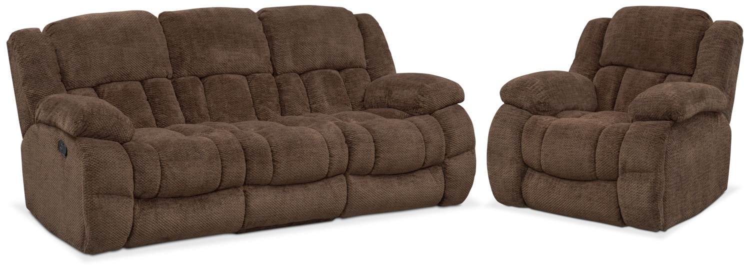 Living Room Furniture - Turbo Reclining Sofa and Glider Recliner Set