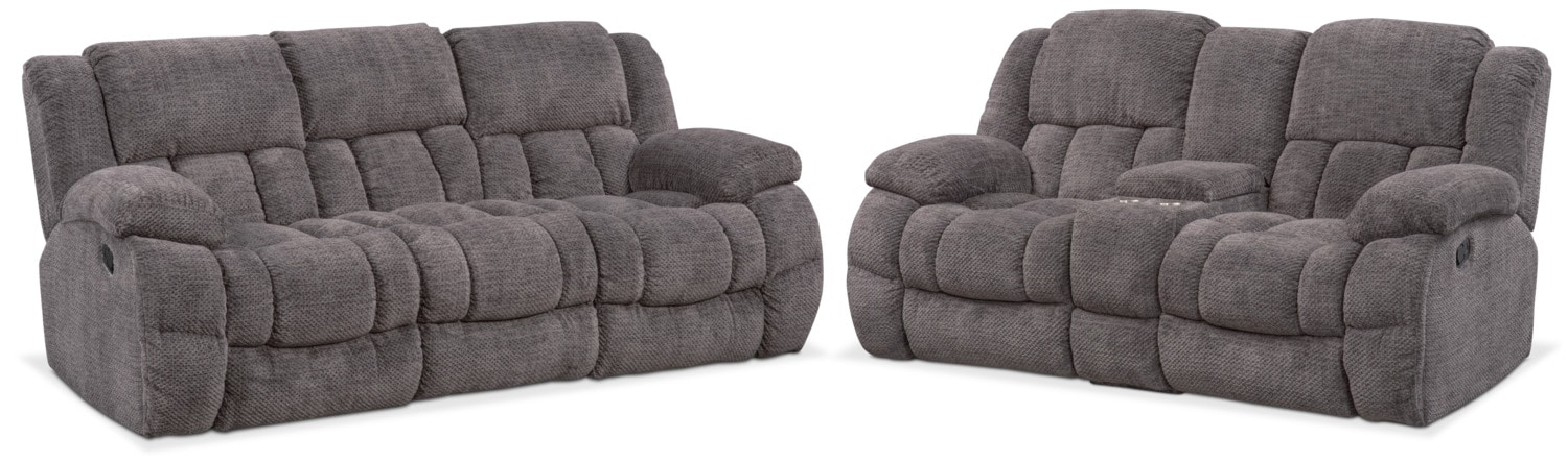 Living Room Furniture - Turbo Manual Reclining Sofa and Reclining Loveseat Set