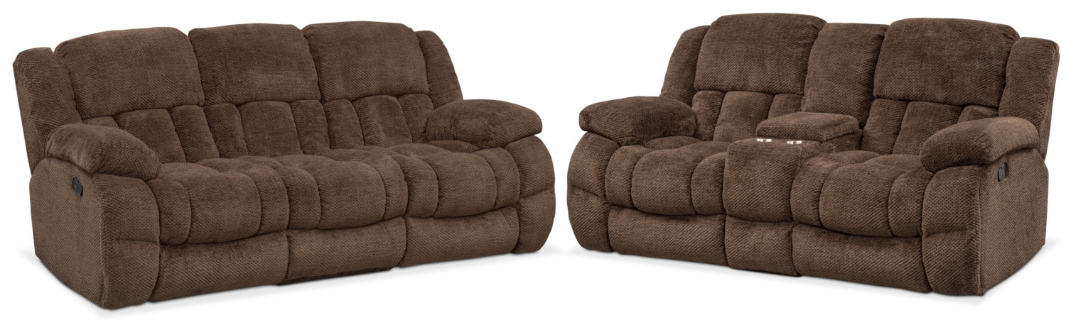 Living Room Furniture   Turbo Reclining Sofa And Reclining Loveseat Set    Chocolate
