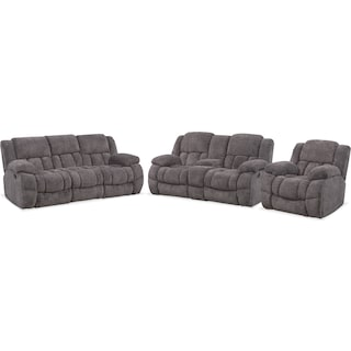 Turbo Reclining Sofa, Reclining Loveseat and Glider Recliner Set - Pewter
