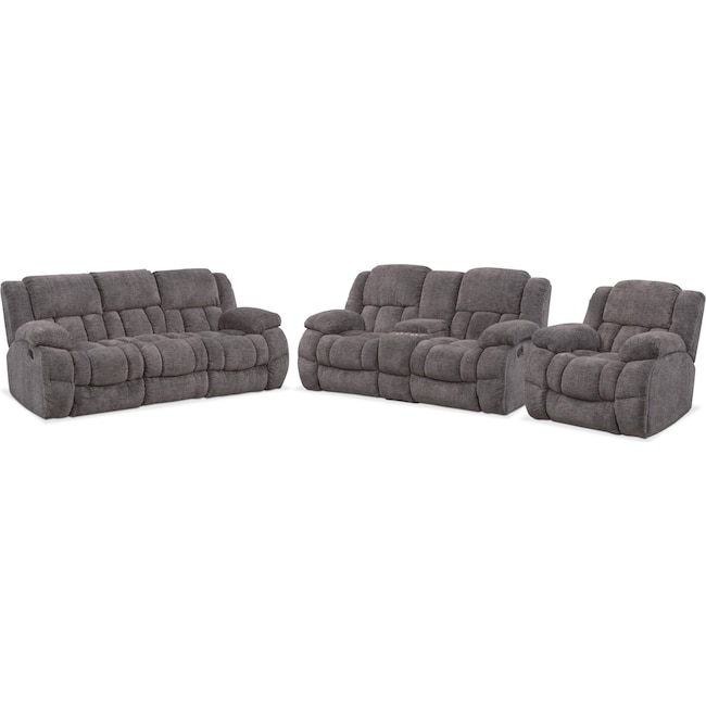 Living Room Furniture - Turbo Reclining Sofa, Reclining Loveseat and Glider Recliner Set - Pewter