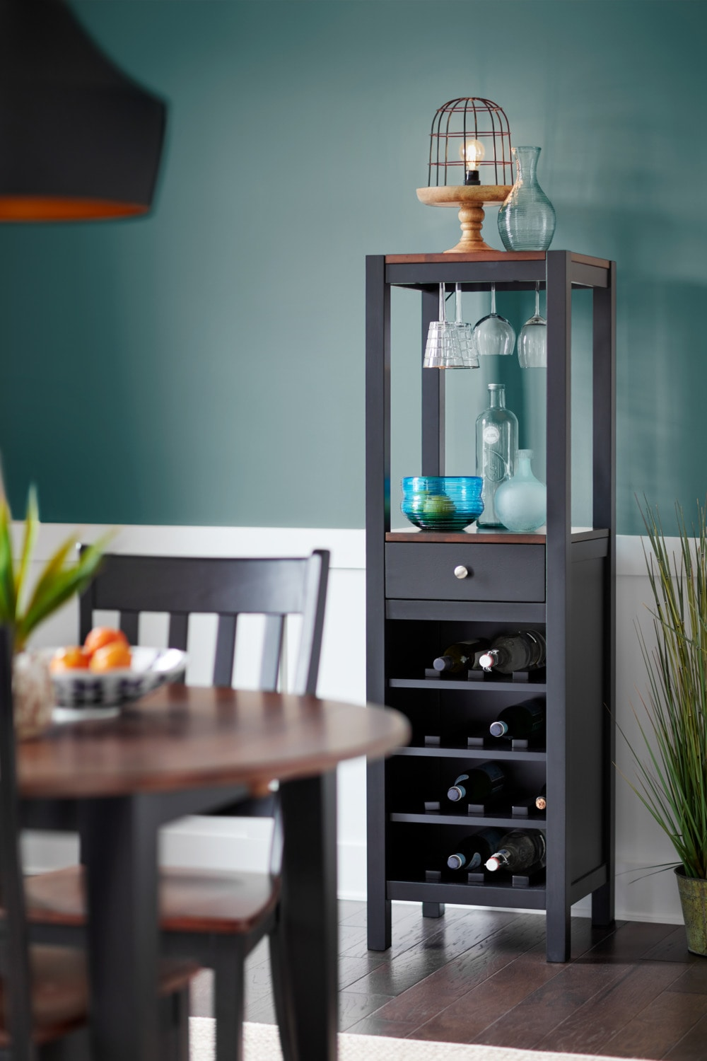 Nantucket Drop-Leaf Table and 2 Slat-Back Chairs - Black and Cherry ...