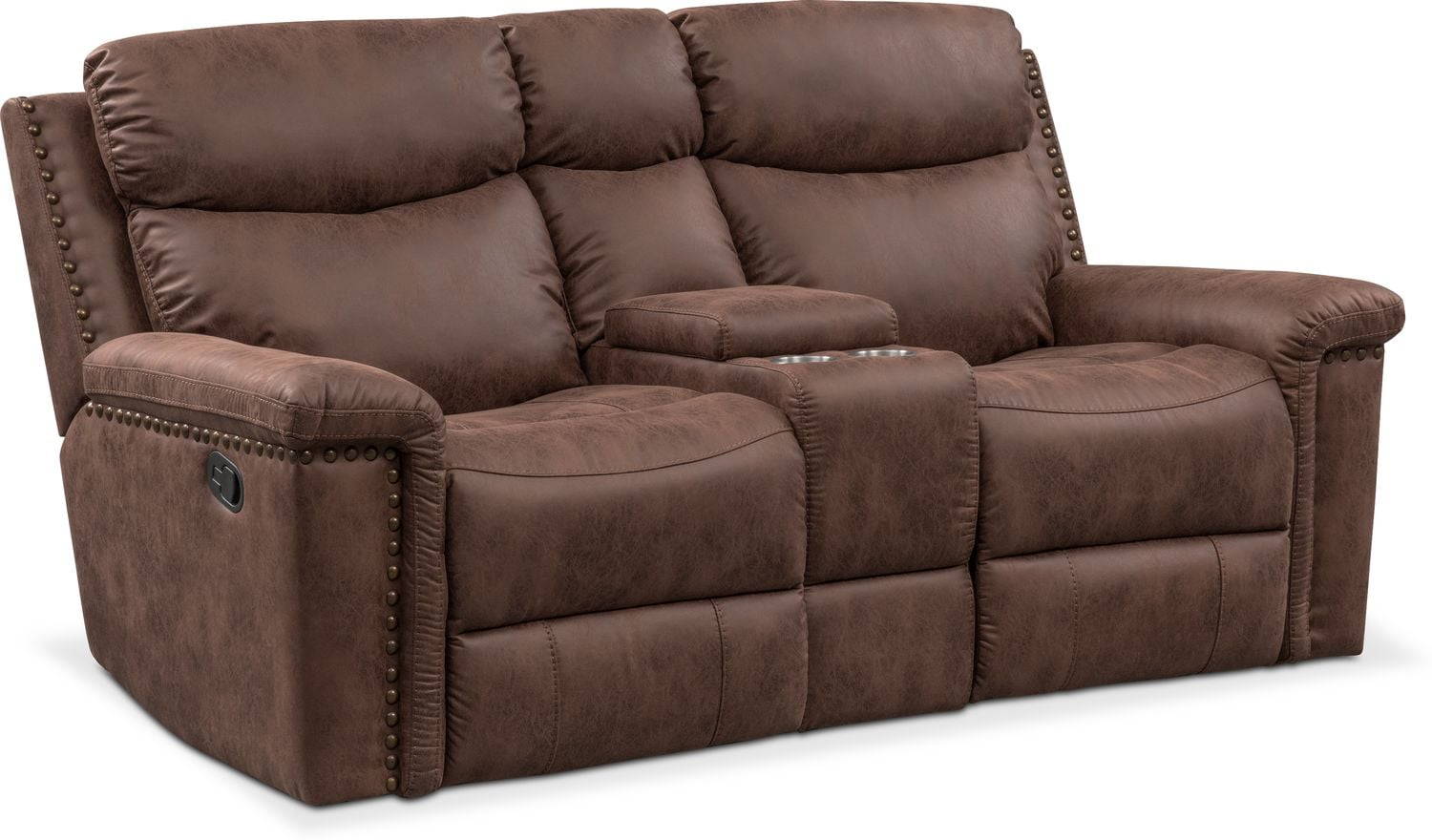 Montana Dual Manual Reclining Loveseat With Console   Brown