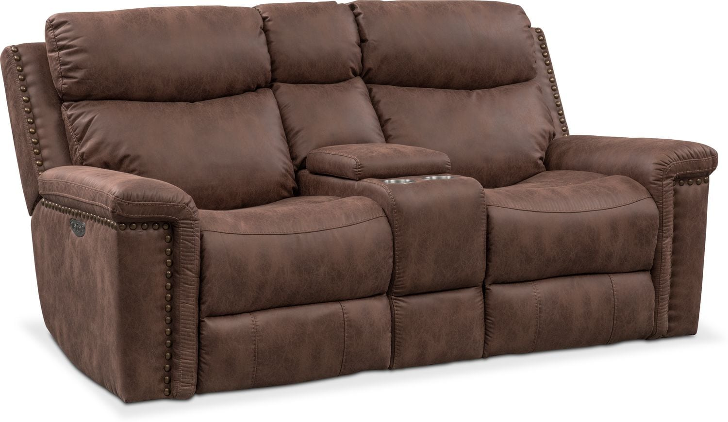 Living Room Furniture - Montana Dual Power Reclining Loveseat with Console