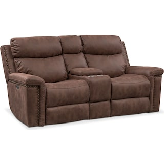 Montana Dual Power Reclining Loveseat with Console