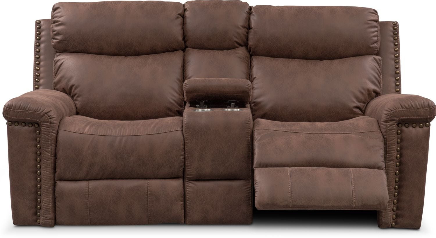 Montana Dual Power Reclining Loveseat With Console Brown Value  ~ Sofa Recliner With Console