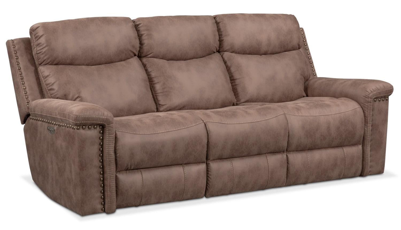 Living Room Furniture   Montana Dual Power Reclining Sofa   Taupe