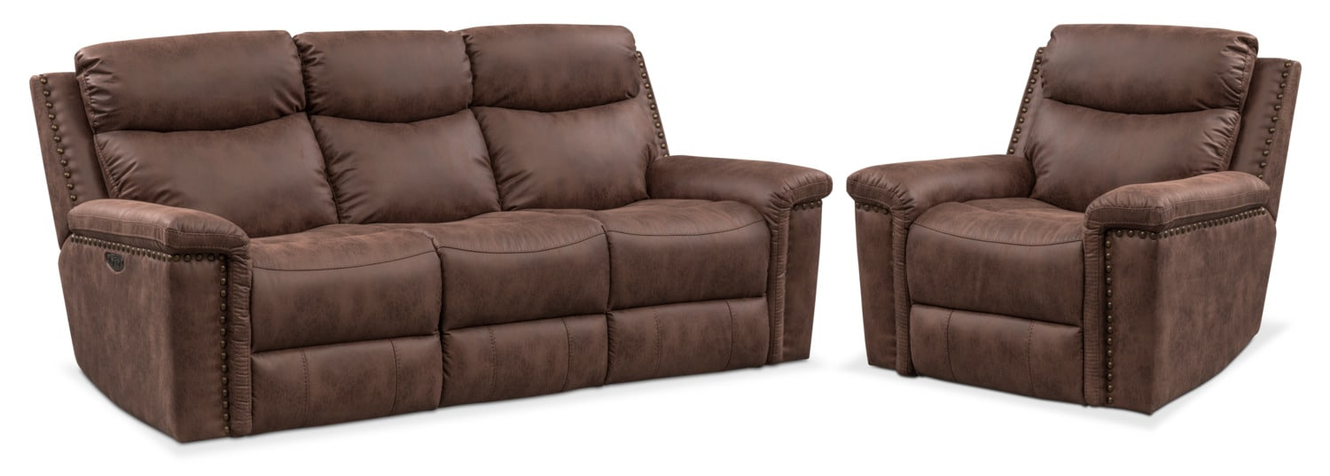 Living Room Furniture - Montana Dual Power Reclining Sofa and Recliner Set