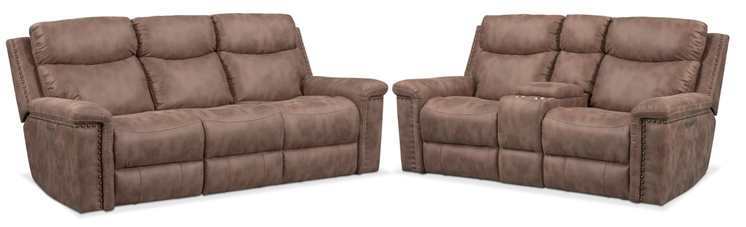 Living Room Furniture - Montana Dual-Power Reclining Sofa and Loveseat Set