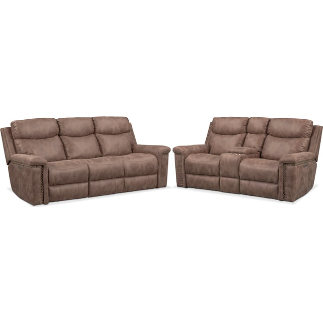 Living Room Furniture - Montana Dual Power Reclining Sofa and Reclining Loveseat Set