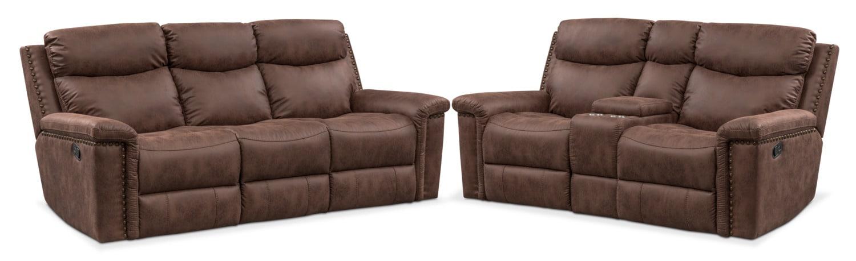 Living Room Furniture - Montana Dual Manual Reclining Sofa and Reclining Loveseat Set