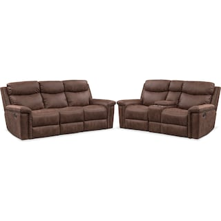 Montana Dual Manual Reclining Sofa and Reclining Loveseat Set